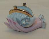 Porcelain Figural Hand with Coin Purse and Flowers Gold Trim Dresser Decor  Figurine