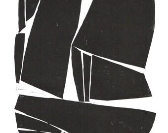 Modern Art Print - Large Modern Contemporary Forms - Home Decor - Linocut Block Print - Original or Digital Print