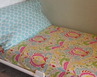 Toddler Sheet and Standard Pillowcase - Two Piece Set - Kumari Garden - Choose Your Fabrics - Ships in 1-2 Weeks