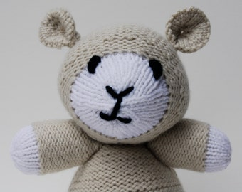 Hand knit stuffed lamb, knit white lamb, knit stuffed animal, knit plush toy, baptismal gift, stuffed white lamb, plush white lamb, knit toy