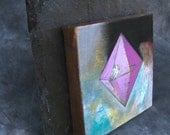 "Original Acrylic Painting on a 8"" x 8"" Canvas Entitled - ""Pink Prism"""