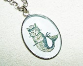 Victorian MERMAID CAT Necklace MeRCAT Catfish with Princess Crown Illustration Silver Plated Glass Bubble Cabochon Free USA Shipping