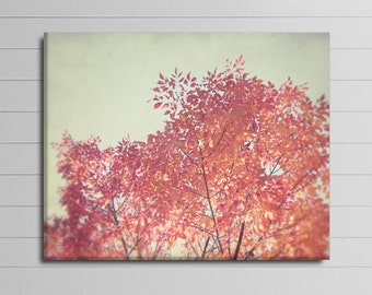 Nature Canvas, Red and Gray Wall Decor, Autumn Tree Picture, Large Wall Art, Living Room Artwork, Fall Photograph