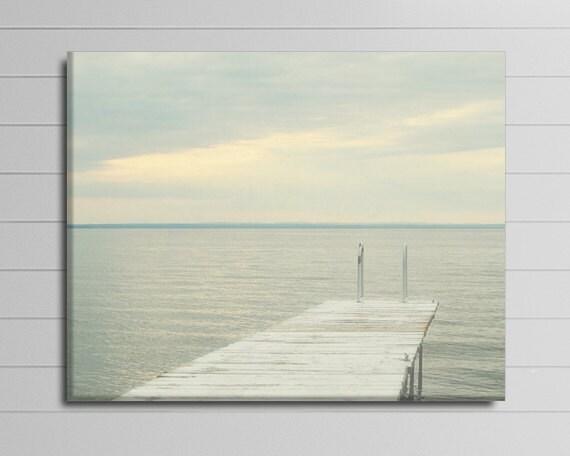 Lake Canvas Photograph, Grey Wall Decor, Coastal Art, Dock Photography, Big Wall Art, Grey Picture, Bedroom Artwork