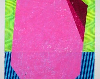 30x22 Geometric Abstract Painting, Neon, Blue & Pink NY1418