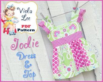 Jodie... Girl's Sewing Pattern. Girl's Dress Pattern. Girl's Summer Top Pattern, Toddler Dress Sewing Pattern, Girl's pdf Sewing Pattern.