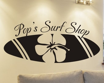 personalized beach house wall decal Pop's Surf Shop with surfboard living room or family room wall decoration