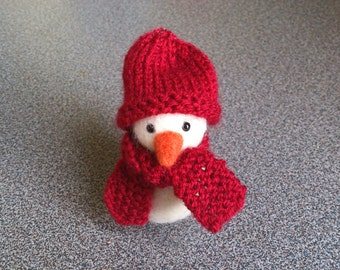 Snowman needle felted with handknitted scarf and hat christmas home decor ornament