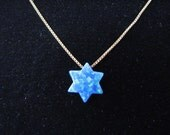 Opal Star of David Pendant on 14k solid Gold Chain Necklace