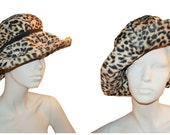Lilly Dache Hat, 60s mod Leopard Print,  Wide Brim