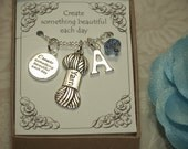 Personalized Knitting Necklace With Birthstone and Initial - C05 - Yarn Charm - Yarn Pendant - Wool Pendant - Knitter Necklace - Knitting