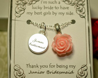 Personalized Junior Bridesmaid Necklace with Color Motiff -- JBL - Junior Bridesmaid Gift -- Junior Bridesmaid Jewelry, Junior Bridesmaid