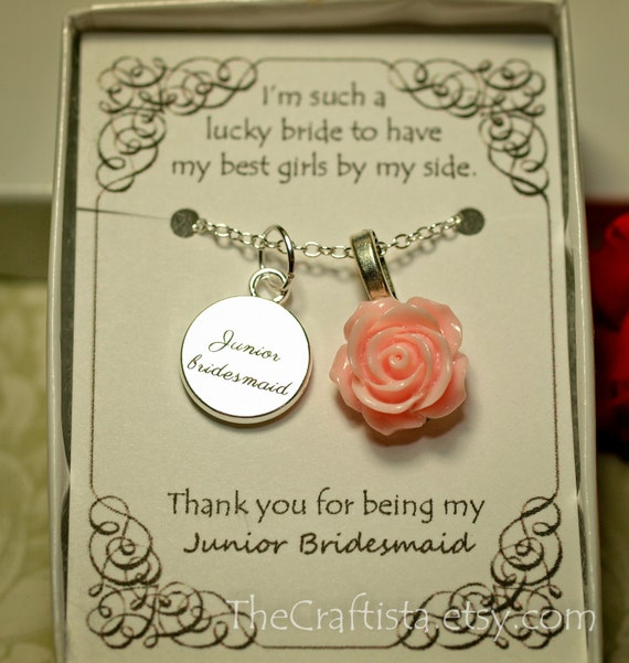 Personalized Junior Bridesmaid Necklace With Color Motiff