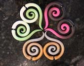 Colorful Tribal Spirals - Fake Gauge or Gauge Earrings