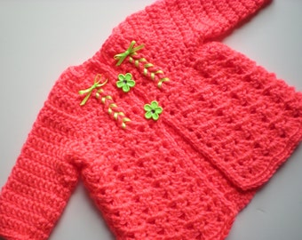 Neon Coral Baby Sweater