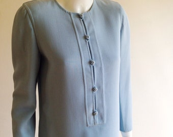 Oscar de la Renta 80s does 60s Ice Blue Tunic Dress