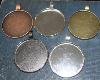 Extra Large Round Blank Photo Pendant Base - approx 2 inches (47.8 mm inside) lead and nickel free great for Clay, Mosaics, Altered art