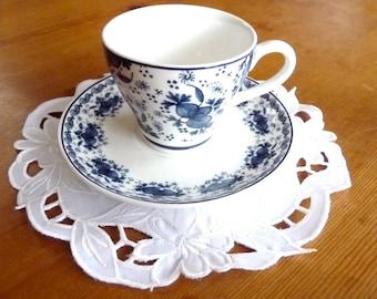 Rijksmuseum Delftware Espresso Cup Saucer Demitasse Blue White Unused