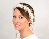 Daisy Flower Crown, White Wedding Headband, Bridal Floral Head Wreath, Babys Breath Halo, Woodland Hair Piece, Circlet