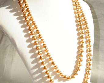 """Deep Cafe' Latte Colored Simulated Pearl Necklace - Wonderful Luster - 48"""""""