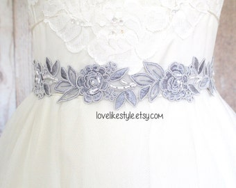 Light Gray Embroidery Flower Lace Sash , Bridal Sash, Bridesmaid light gray Sash, Bridesmaid Headband , Head Tie.