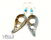 Paisley Teardrop Holes Turquoise Crystal Drop Earrings Brass Hand Cut Eco Friendly Oxidized Boho Hippie Dangle Drop by evismetalwork