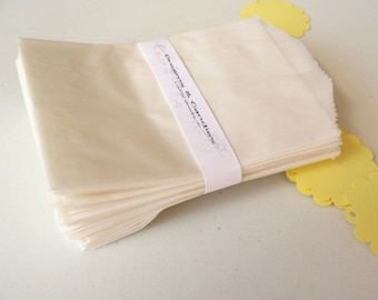 """50 Glassine Paper Bags Size 3 1/4"""" x 4 3/4"""" Peanut -White Glassine Bags -Wedding Favor Bags -Candy Bags -Small glassine bags -Packing Bags"""