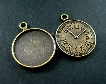 12pcs 25mm round tray bezel setting vintage antiqued bronze alloy clock pendant charm DIY supplies 1810245
