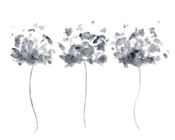 Exceptionnel Peinture de fleurs art floral aquarelle noir et blanc art UE76