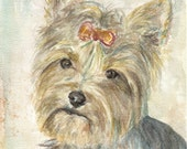 "York  Terrier Print Pet Portrait Watercolor Painting  8""x11""   Dog  Animal Pet Illustration Mustard Grey Blue"