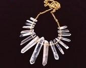 Quartz Queen Statement Necklace, Raw Crystals Boho Necklace