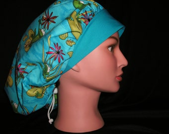 frogs on lilly pads bouffant scrub hat