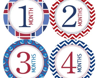 Monthly Baby Stickers Baby Month Stickers Nautical Baby Boy Monthly Shirt Stickers Monthly Baby Sticker Boy Baby Shower Photo Prop Milestone