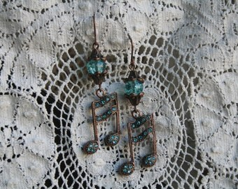 Lovely antique copper MUSIC NOTE Earrings