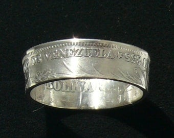 Ladies Silver Coin Ring 1945 Venezuela 1 Bolivar, Ring Size 6 1/2 and Double Sided