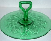 sale green glass dessert  tray glass tray with center handle   leaf pattern glass tray