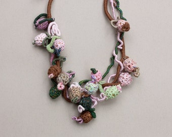 Statement crochet necklace, fiber and wood jewelry, brown, green, pink, OOAK