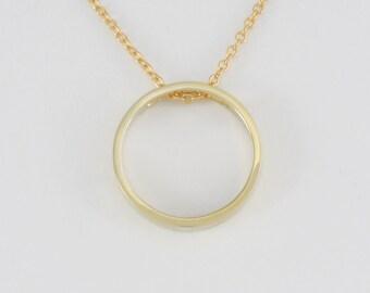 Geometric Circle Pendant in Solid 14K Gold Minimalist