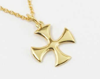 Solid 14K Gold Maltese Cross Necklace