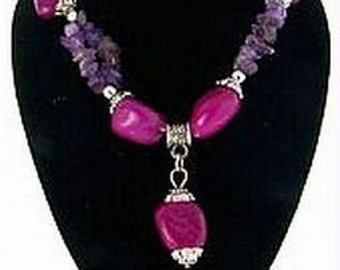 Amethyst Necklace Beaded Crystals & Natural Gemstone Nuggets Silver Metal NEW 1980s