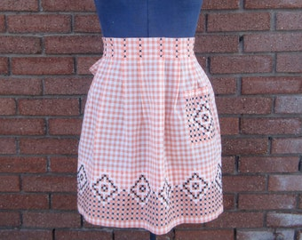 Vintage Orange Gingham Apron with Embroidered Black and White Chicken Scratch Handmade in 1950's