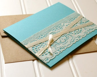 Lace Thank You Cards: Set of 25. Handmade. Blank Card Set. Greeting Card. Thank You Card. Wedding Card. Lace. Rustic. Shabby Chic.