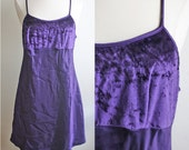 1990s Velvet Dress // Purple 90s Mini Velvet Silk Spaghetti Strap Lingerie Nightgown Dress Grunge  // XS S M L XSmall Small Medium Large