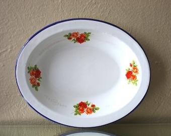 Vintage Floral Rose Print Enamel Dish