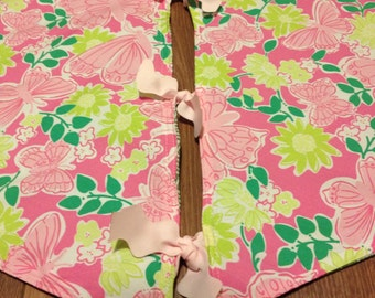 one of a kind lilly pulitzer pink hidden garden christmas tree skirt lined - Pink Christmas Tree Skirt