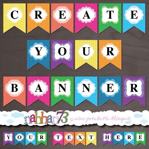 Rainbow Colors EDITABLE Printable Banner Create your Own