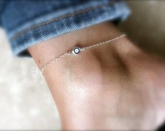 Blue evil eye ankle bracelet on sterling silver chain