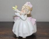 Vintage Lefton Angelica Little Girl Flute Player Pink Planter
