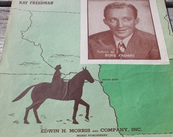 Vintage Cowboy Sheet Music Sioux City Sue