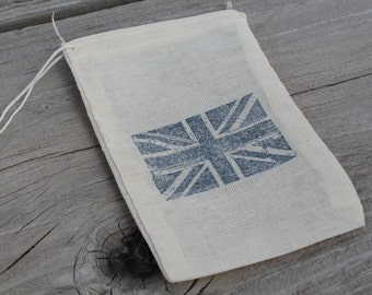 Set of 10 Hand stamped Union Jack British Flag Muslin Party Favor Bags 100% organic made in america